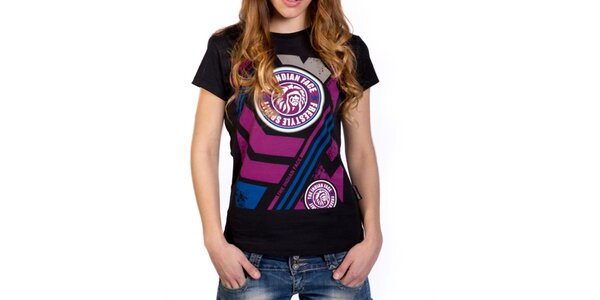 Dámske čierne tričko s farebnou potlačou Indian Face