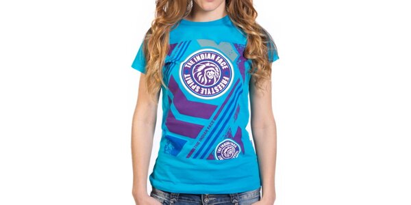 Dámske modré tričko s farebnou potlačou Indian Face