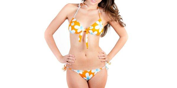 Dámske oranžové bikiny s bielymi kvetinami Indian Face