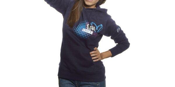 Dámská tmavo modrá mikina Indian Face s kapucou a potlačou
