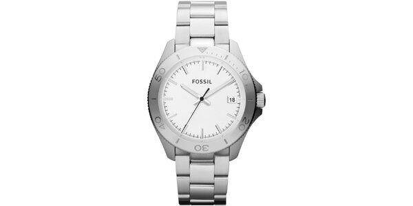 Pánske strieborné hodinky s bielym ciferníkom Fossil