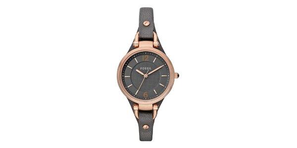 Dámske oceľové hodinky s tmavým koženým remienkom Fossil