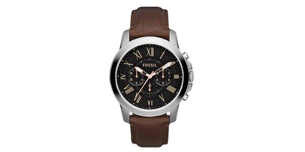 Pánske strieborné hodinky s hnedým remienkom Fossil