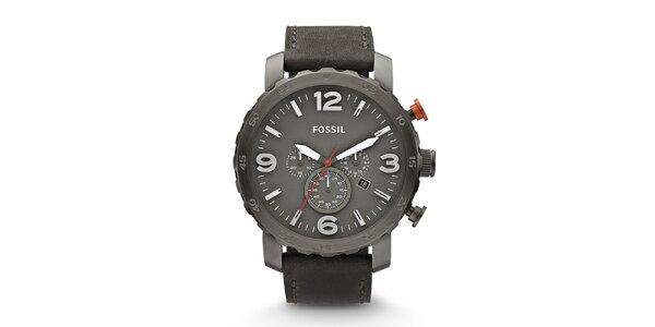 Pánske šedé hodinky s chronografom Fossil