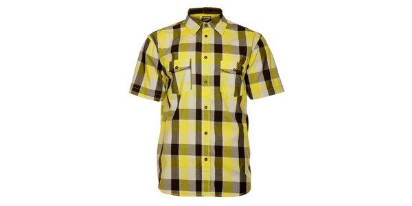 Pánska žlto-hnedá kockovaná košeľa Fundango