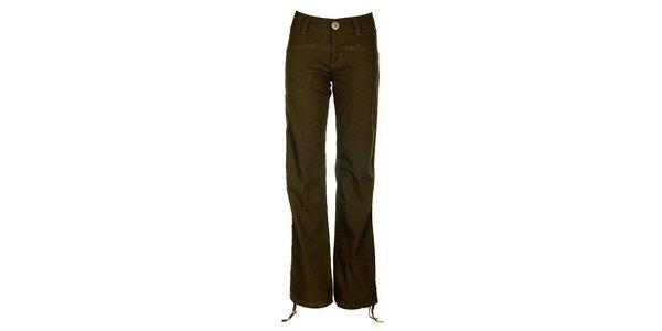 Dámske khaki nohavice s výšivkou Fundango