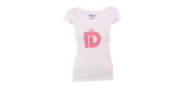 Dámske biele tričko Fundango s ružovou potlačou