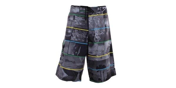 Pánske šedé plavky s farebnými prúžkami Fundango