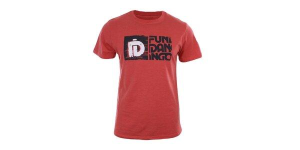 Pánske červené tričko s potlačou a krátkym rukávom Fundango