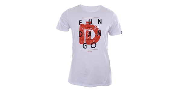 Pánske biele tričko s potlačou značky Fundango