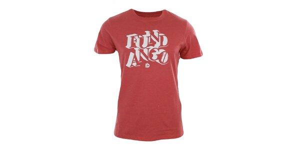 Pánske červené tričko s bielou potlačou Fundango