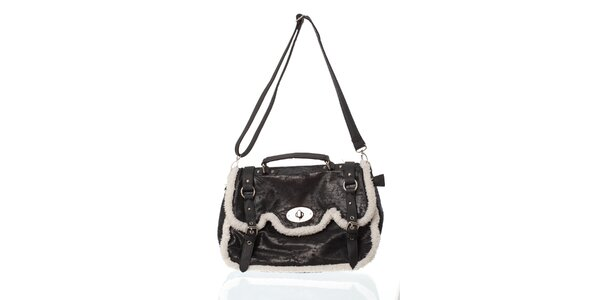 Čiern kabelka s kožúškom
