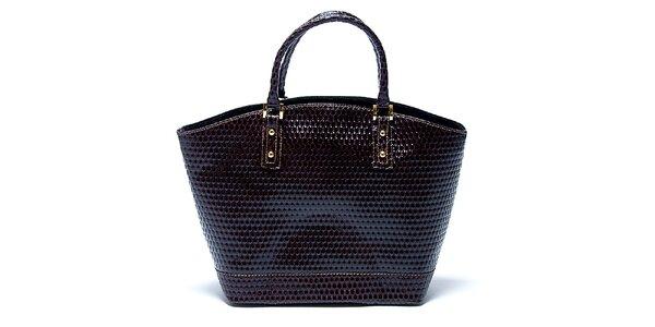 Dámska gaštanovo hnedá kožená kabelka so vzorom Renata Corsi
