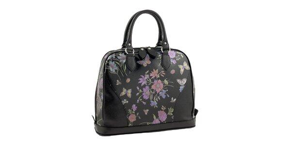 Dámska čierna kabelka s kvetinovou potlačou Valentina Italy