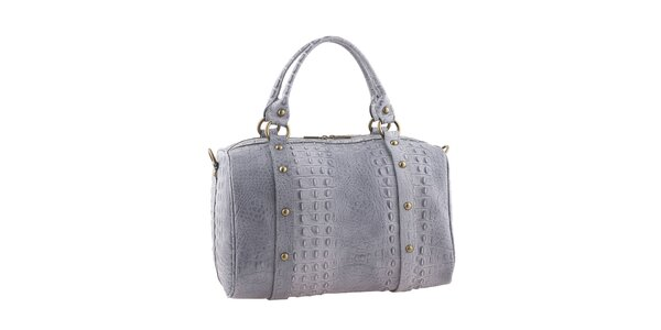 Dámska kožená šedá krokodília kabelka Valentina Italy