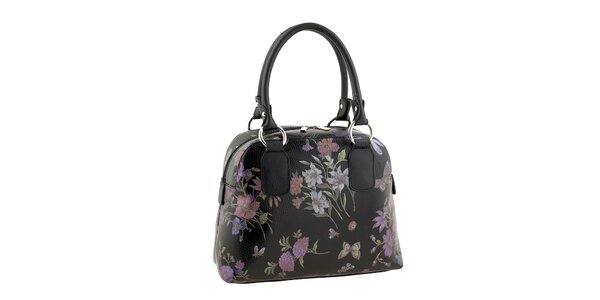 Dámska kabelka s kvetinovou potlačou v čiernej farbe Valentina Italy