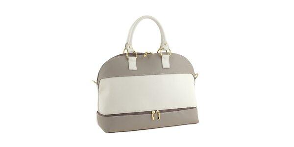 Dámska smotanová kabelka so zlatými detailmi Valentina Italy