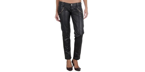 Dámske čierne nohavice z umelej kože Miss Sixty