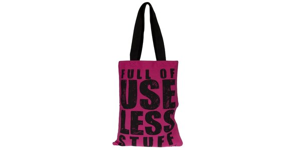 Dámska fuchsiová taška s čiernou potlačou Miss Sixty