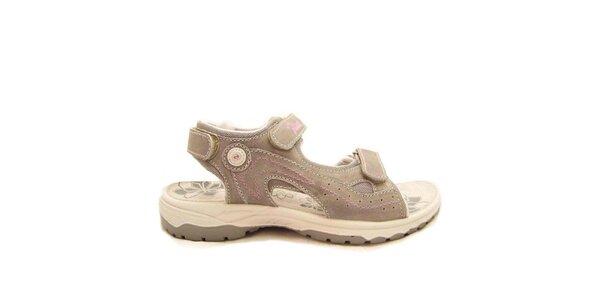 Dámske šedé sandále s ružovým prešívaním Numero Uno