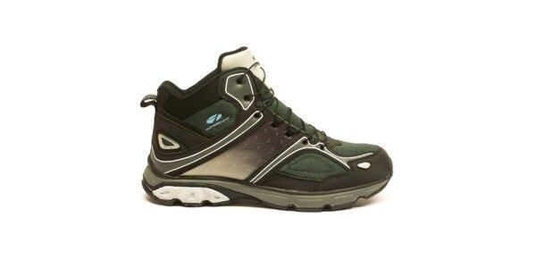 Pánske čierno-zelené členkové trekové topánky Numero Uno