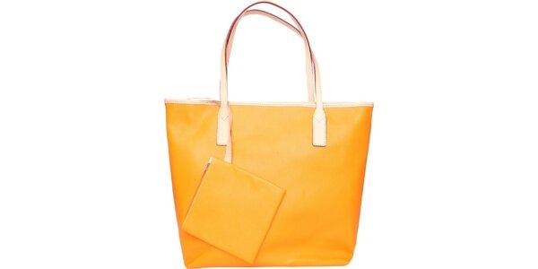 Dámska sýto oranžová kožená kabelka Made in Italia s béžovými detailami