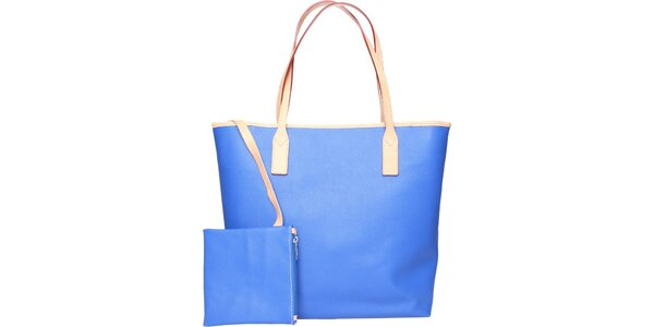 Dámska žiarivvo modrá kožená kabelka Made in Italia s béžovými detailami