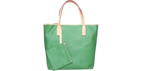 Dámska trávovo zelená kožená kabelka Made in Italia s béžovými detailami