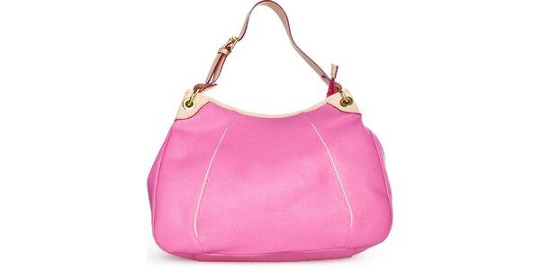 Dámska fuchsiová kožená kabelka Made in Italia s béžovými detailami