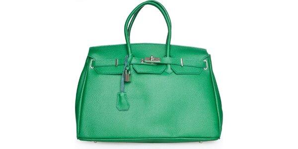 Dámska zelená kožená kabelka Made in Italia
