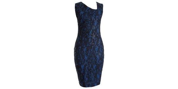 Dámske modré čipkované šaty s flitrami JDC London