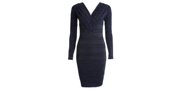 Dámske modré šaty s dlhým rukávom JDC London