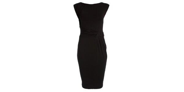 Dámske čierne šaty s naberaným pásom JDC London