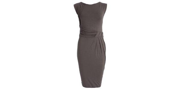 Dámske šedé šaty s naberaným pásom JDC London