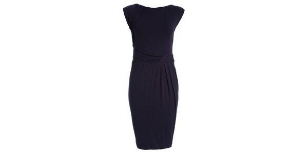 Dámske tmavo modré šaty s naberaným pásom JDC London