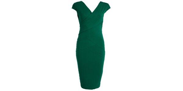 Dámske tamvo zelené púzdrové šaty JDC London
