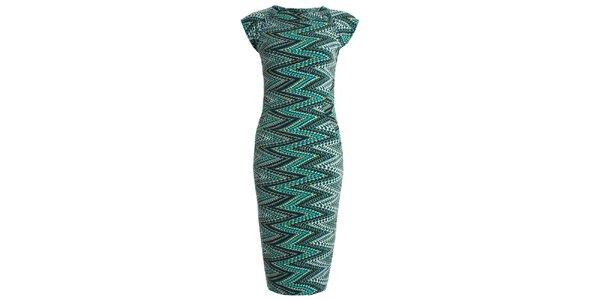 Dámske púzdrové šaty so zelenou cik cak potlačou JDC London