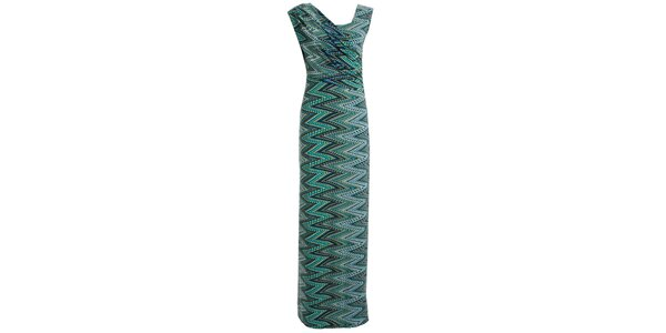 Dámske šaty so zelenou cik cak potlačou JDC London