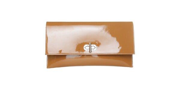 Dámska svetlo hnedá lakovaná kabelka Made in Italia