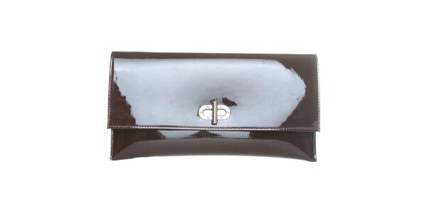 Dámska čokoládovo hnedá lakovaná kabelka Made in Italia