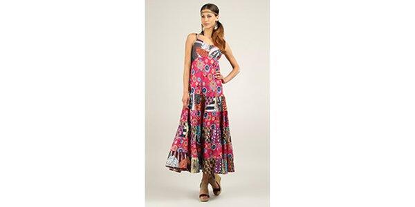 Dámske dlhé ružové šaty s potlačou Ziva