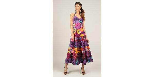 Dámske dlhé fialové šaty s potlačou Ziva