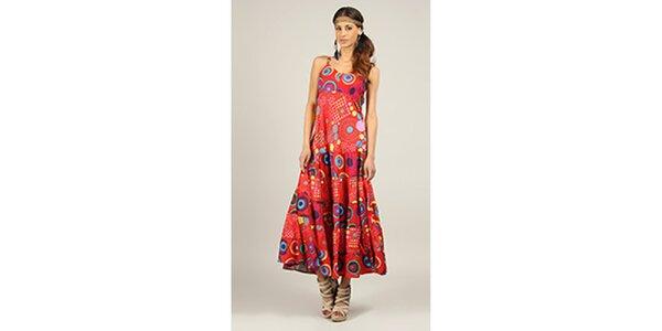 Dámske dlhé červené šaty s potlačou Ziva