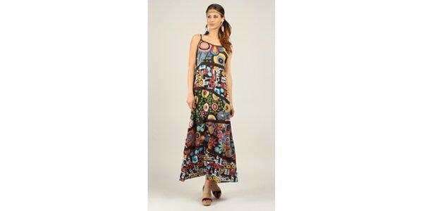 Dámske pestrofarebné šaty s čiernymi lemami Ziva