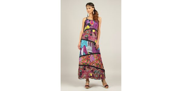 Dámske fialové šaty s čiernymi lemami Ziva