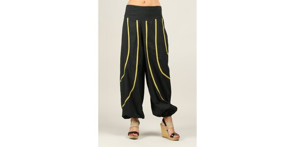 Dámske čierne nohavice so žltozelenými prúžkami Ziva