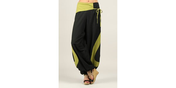 Dámske čierne voľné nohavice so zelenými prvkami Ziva