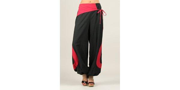 Dámske čierne voľné nohavice s fuchsiovými prvkami Ziva