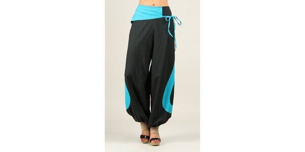 Dámske čierne voľné nohavice s tyrkysovými prvkami Ziva