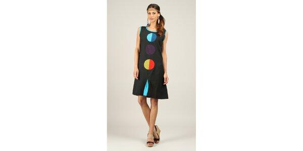 Dámske čierne šaty s farebnými kolieskami Ziva